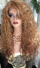 Gorgeous, Long,  Lace front Side Part, Ombré Blonde, Red, Dark Brown Curly Wig!