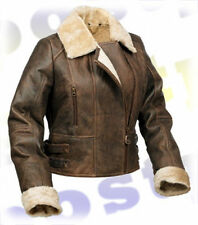 Girls or Ladies GENUINE SHEEPSKIN LEATHER AVIATOR FLYING JACKET - UK Size 8