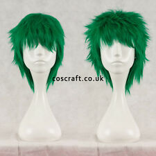 Breve Layered SOFFICI spikeable Cosplay Parrucca, verde foresta, UK Venditore, Jack stile