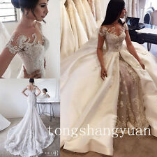 2017 Detachable Mermaid Wedding Dress Luxury Beading Lace Cathedral Bridal Gowns