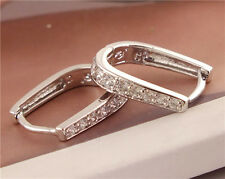 silver cubic zirconia fashion U shape women's hoop earrings