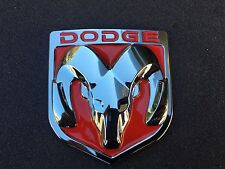 NEW DODGE RED & CHROME 3M EMBLEM HOOD OR TRUNK TAILGATE LOGO FENDERS BADGE