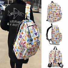 Womens Girls Boys Smiley Emoji Backpack Funny Emoticon Pack School Shoulder Bag
