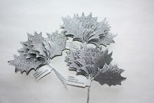 36 x MEDIUM SILVER GLITTER HOLLY LEAVES 60mm WIRED STEMS CHRISTMAS CRAFT