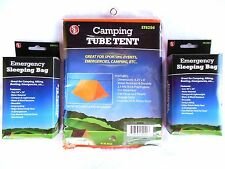 Tube Tent Survival Shelter and 2 Emergency Sleeping Bags Camping Hunting Hiking