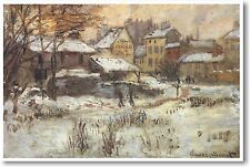 Snow Effect with Setting Sun - Claude Monet - French Painting Art Print POSTER