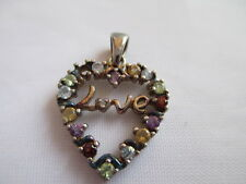 VINTAGE SIGNED RSE  925 STERLING SILVER & RHINESTONE LOVE HEART PENDANT