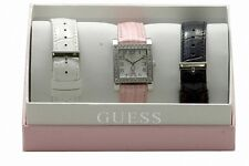 NEW GUESS WHITE,PINK,BLACK LEATHER BANDS+SILVER,BREAST CANCER WATCH SET W0032L2