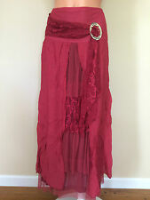NWT PRETTY ANGEL VINTAGE BOHO PEASANT GYPSY MAXI SKIRT BURGUNDY Size LARGE