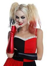 HALLOWEEN Black & Red Lame Fingerless GLOVES  HARLEY QUINN COSTUME Prop COSPLAY