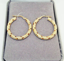 SOLID 9CT HALLMARKED YELLOW GOLD TEXTURED & DIAMOND CUT 25MM ROUND HOOP EARRINGS