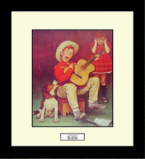 Norman Rockwell THE MUSIC MAN Framed Children Music Boy With Guitar Wall Hanging
