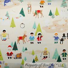 BonEful Fabric FQ Cotton Quilt White Snow Scenic Xmas Tree Snowman Sled Reindeer