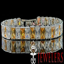 10K White Gold Over Silver Smoky Brown Topaz Bracelet Princess Cut Lab Diamond