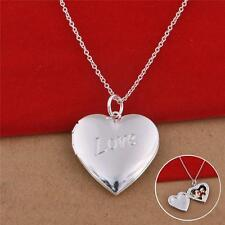 Woman Man Silver Plated Hearts Photo Picture Locket Pendant Necklace Chain
