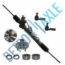 5 pc Kit: Rack and Pinion + New Wheel Hub Bearings + New Outer Tie Rod End Links