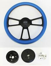 "48-59 Chevy Pick Up Truck Sky Blue on Black Steering Wheel 14"" Bowtie Cap"