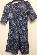 Warehouse UK Size 10 Black Grey Tapestry Floral Print Nipped Waist Skater Dress