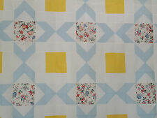 Unfinished Quilt Top-Aunt Suckeys Choice,Flowers Blue &Yellow, approx 71.5 x71.5