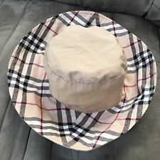 "Burberry Reversible Nova Check Beige Cotton Bucket Sun Hat 7"" Diameter"
