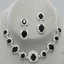 JET BLACK OVAL Clear Crystal Rhinestones Necklace Set Prom Bridal Pageant Formal