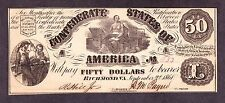 Us Csa $50 1861 Confederate Currency Note T-14 Pf-7, Plt 1 Early Ch Cu (-633)