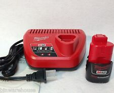 Milwaukee M12 12 Volt Red Lithium Ion 1 Battery 48-11-2401 & Charger 48-59-2401