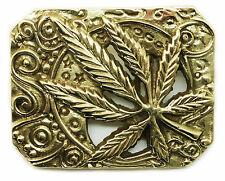 Cannabis Leaf Belt Buckle Weed Marijuana Ganja Solid Brass Baron Buckles Product