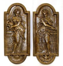 "16"" Danaides Argos Fire and Water Victorian Wall Home Decor Plaque Pair Cameo"