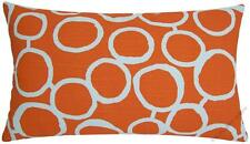 Orange/White Freehand Circles decorative throw pillow cover/cushion cover 12x20""