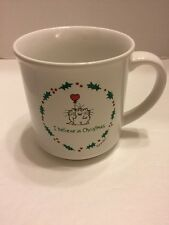 Sandra Boynton Mug/Cup I Believe In Christmas  Vintage Cat w/Heart Balloon