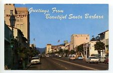 Greetings from Santa Barbara CA Cal State Street, old cars, fins, stores