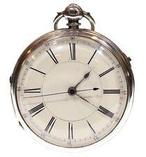 GRANDE Antico Cronografo Orologio da taschino 1872 in argento FUSEE LEVA. REVISIONATA