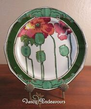 """Art Nouveau Royal Doulton Red Poppy Poppies 8.5"""" Plate D3225 Panelled"""