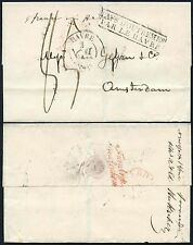 USA 1834 BOSTON to HOLLAND...OUTREMER HAVRE + RED HANDSTAMPS