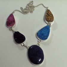 "LAPIS AND MULTIPLE COLORED DRUZY 21"" SOLID 925 SILVER SUMMER NECKLACE!"