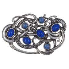 Miracle Pewter Blue Lapis Fire Opal Viking Serpent Snake Brooch UK Made