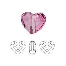 Swarovski Crystal Faceted Love Beads Heart 5741 Rose 8mm Package of 24