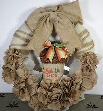 Hobby Lobby Burlap Wreath Let Us Give Thanks Autumn Fall New
