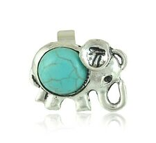 Retro Turquoise Ring Tibetan Silver Lucky Elephant Open Ring Jewelry