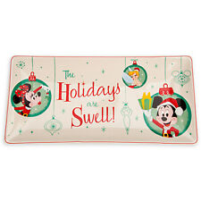 disney parks holiday christmas minnie mickey tinker bell large ceramic tray new