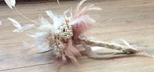 VINTAGE INSPIRED FEATHER BOUQUET PEARLS CHAMPAGNE ROSES BROOCH WEDDING BRIDE