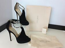 JIMMY CHOO Freya Platform NEW black Crystal Suede Shoes Size 40 Uk 7 £950 Heels