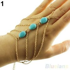 Boho Hand Arm Slave Harness Chain Armlet Bracelet Bangle Arm Cuff 14K    Gold