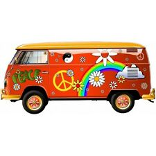 Van Hippie Peace and Love autocollant sticker adhesif 12 cm