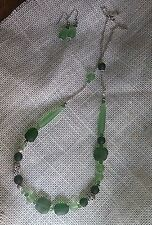 "Long Ocean Green Sea Glass Candy Necklace/Earrings. Frosty. 29"" Handmade Bright"