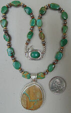 BEADED PARROT GORGEOUS ROYSTON TURQUOISE .925 STERLING SILVER PENDANT NECKLACE