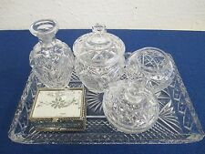 Dressing Table/Vanity Set Tray Trinket Bowls Urns & Mirrored Box Ladies Crystal