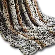 Leopard Skin Rabbit Faux Fur Throw Super Soft Plush Chic Blanket Soft Warm Bed