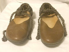 VINTAGE TRIPPEN Mary Jane Flats w-Leather Rope Caramel Size 39 EU/9 US UNIQUE!